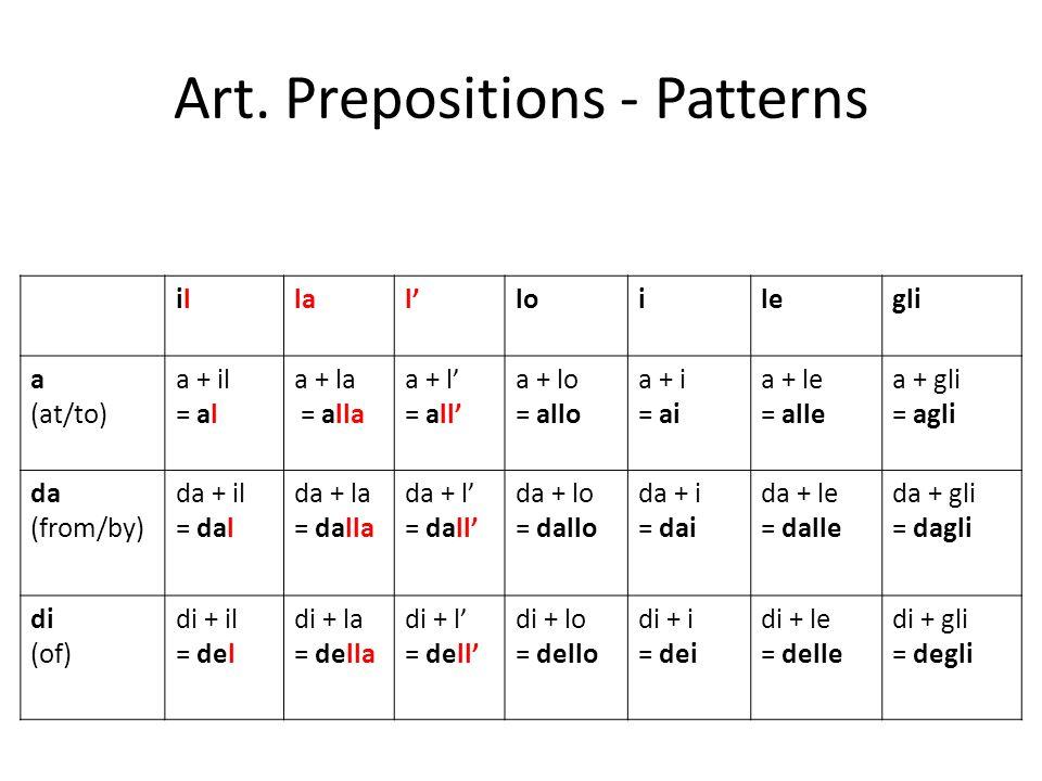 Art. Prepositions - Patterns ilillalloilegli a (at/to) a + il = al a + la = alla a + l = all a + lo = allo a + i = ai a + le = alle a + gli = agli da