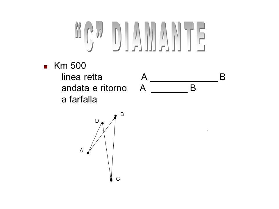 Km 500 linea retta A _____________ B andata e ritorno A _______ B a farfalla A B C D