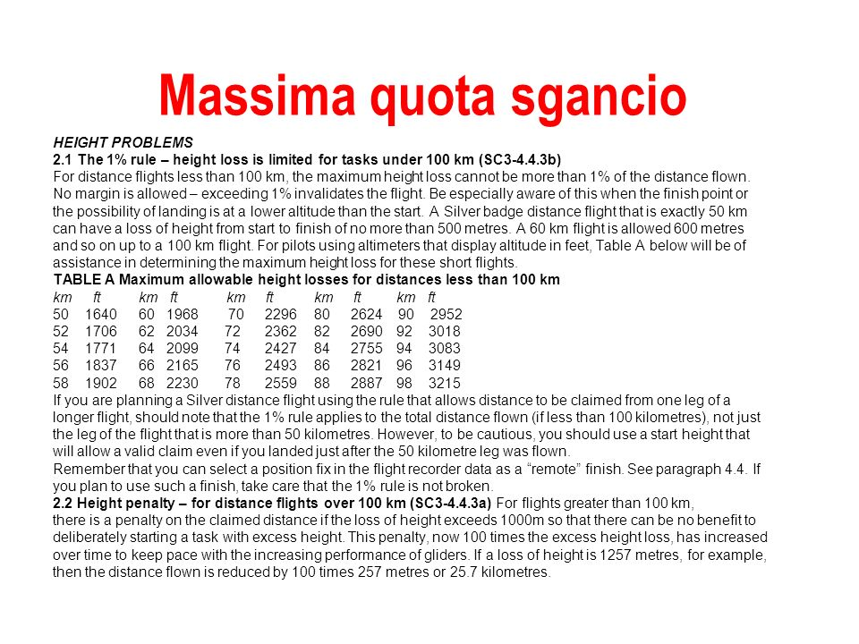 Massima quota sgancio HEIGHT PROBLEMS 2.1 The 1% rule – height loss is limited for tasks under 100 km (SC3-4.4.3b) For distance flights less than 100