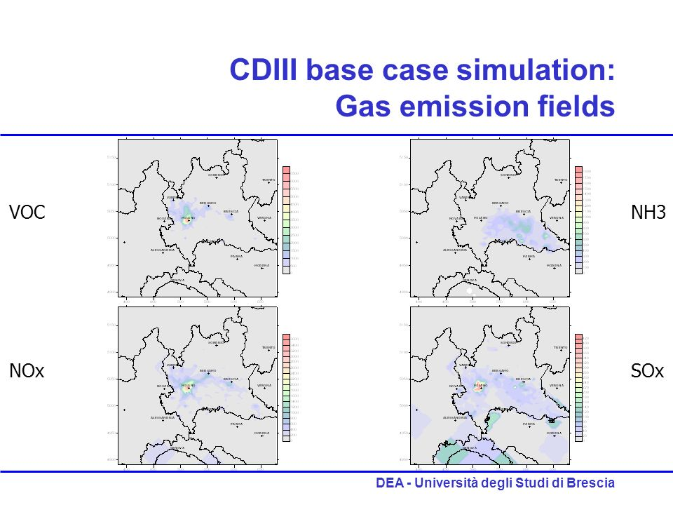 DEA - Università degli Studi di Brescia CDIII base case simulation: Gas emission fields VOC NOx NH3 SOx