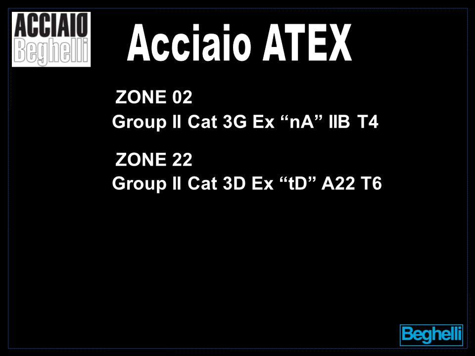 Group II Cat 3G Ex nA IIB T4 Group II Cat 3D Ex tD A22 T6 ZONE 02 ZONE 22