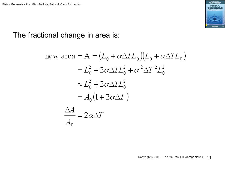 Fisica Generale - Alan Giambattista, Betty McCarty Richardson Copyright © 2008 – The McGraw-Hill Companies s.r.l. 11 The fractional change in area is: