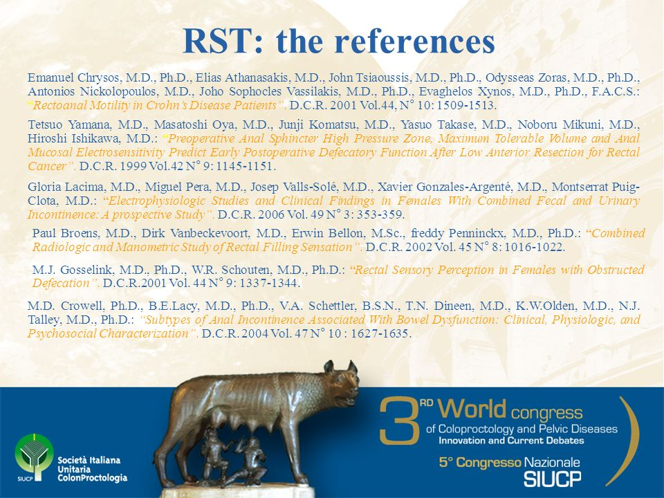 RST: the references M.D. Crowell, Ph.D., B.E.Lacy, M.D., Ph.D., V.A.