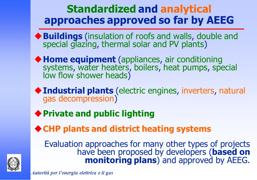 Autorità per lenergia elettrica e il gas Standardized and analytical approaches approved so far by AEEG Buildings (insulation of roofs and walls, double and special glazing, thermal solar and PV plants) Home equipment (appliances, air conditioning systems, water heaters, boilers, heat pumps, special low flow shower heads) Industrial plants (electric engines, inverters, natural gas decompression) Private and public lighting CHP plants and district heating systems Evaluation approaches for many other types of projects have been proposed by developers (based on monitoring plans) and approved by AEEG.