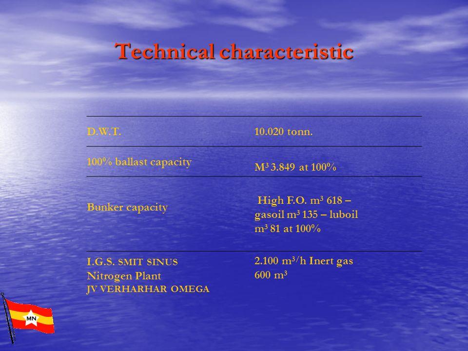 Technical characteristic D.W.T. 10.020 tonn. 100% ballast capacity M 3 3.849 at 100% Bunker capacity High F.O. m 3 618 – gasoil m 3 135 – luboil m 3 8