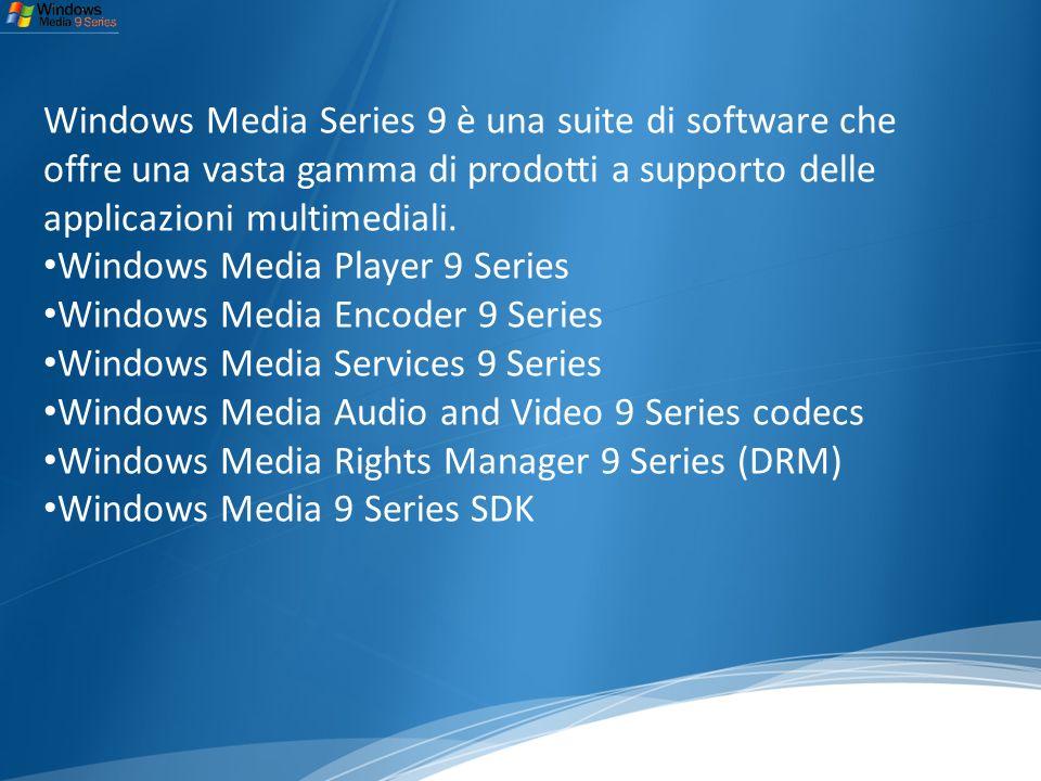Windows Media Series 9 è una suite di software che offre una vasta gamma di prodotti a supporto delle applicazioni multimediali.