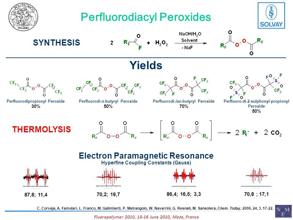 Perfluorodiacyl Peroxides SYNTHESIS C. Corvaja, A. Famulari, L. Franco, M. Galimberti, P. Metrangolo, W. Navarrini, G. Resnati, M. Sansotera, Chem. To