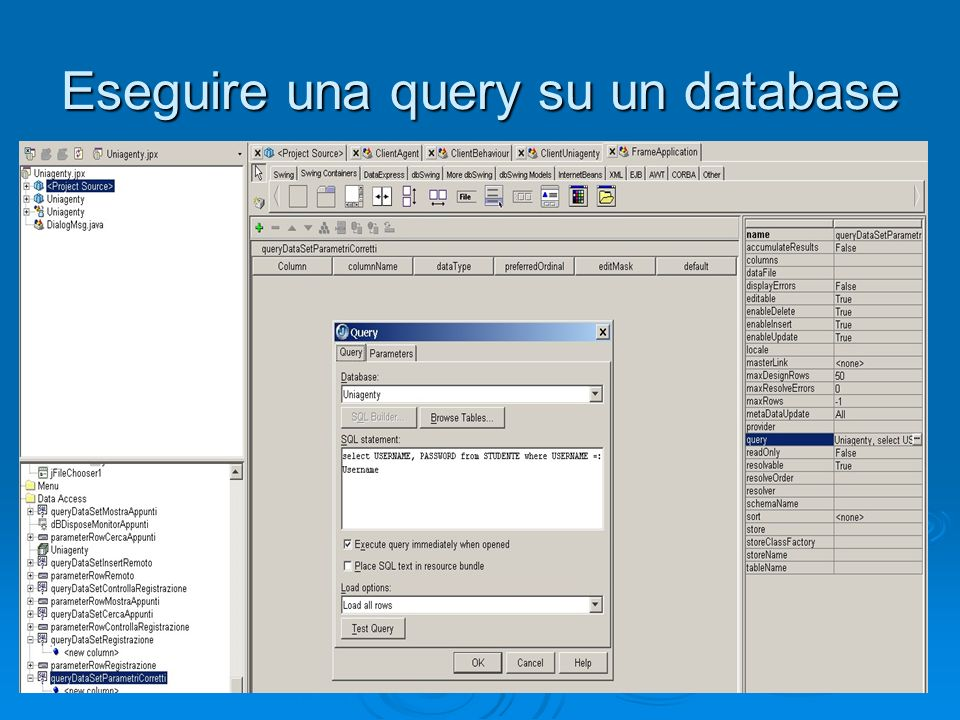 Eseguire una query su un database