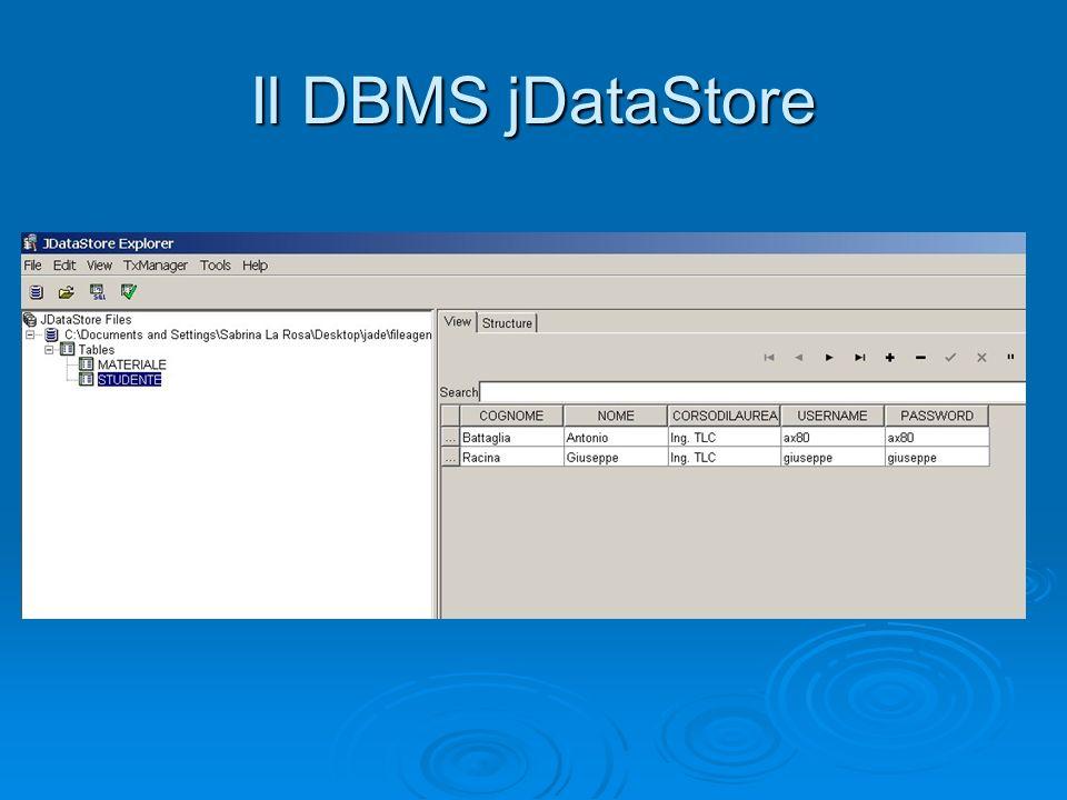 Il DBMS jDataStore