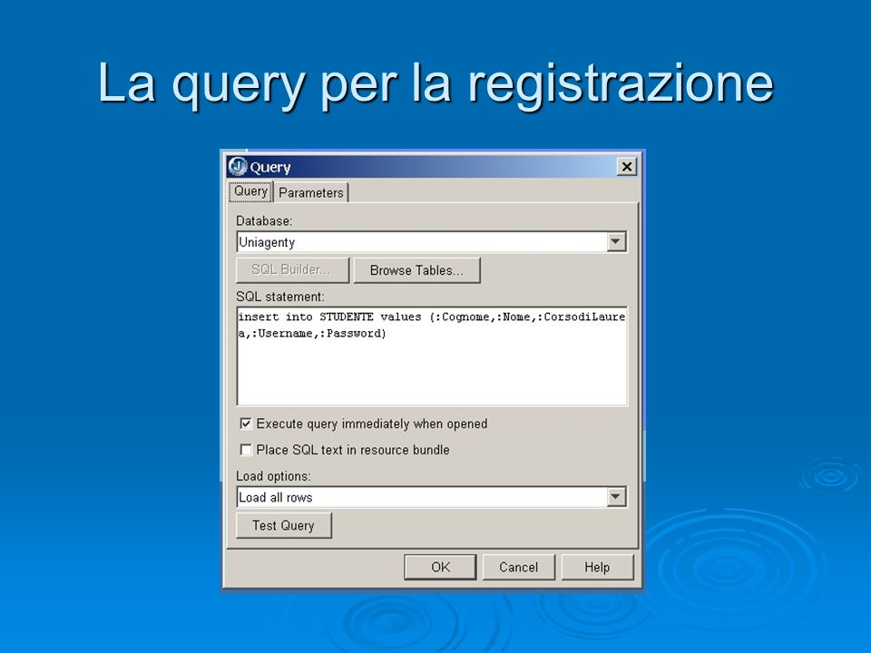 La query per la registrazione