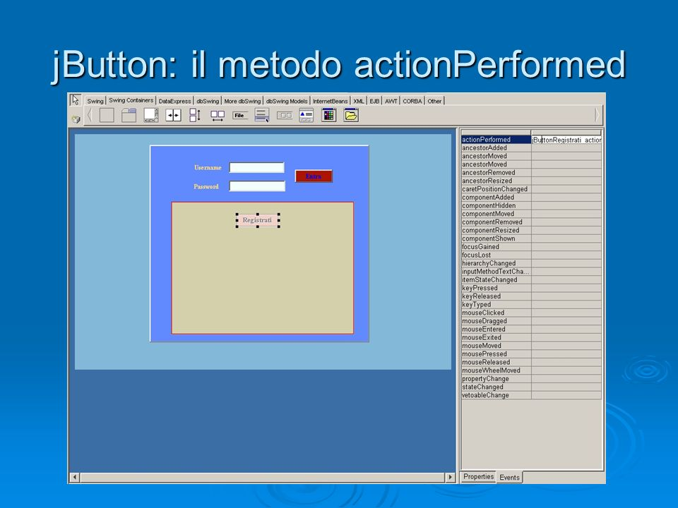jButton: il metodo actionPerformed