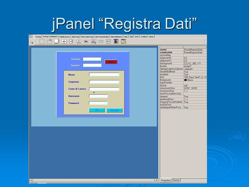 jPanel Registra Dati