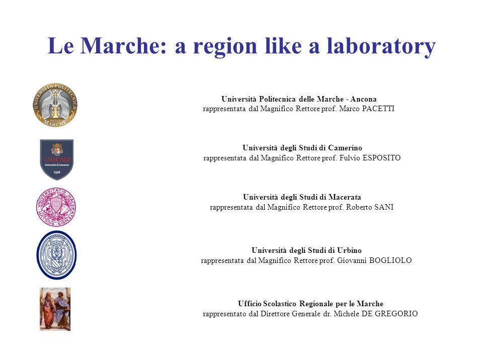 Le Marche: a region like a laboratory Università Politecnica delle Marche - Ancona rappresentata dal Magnifico Rettore prof. Marco PACETTI Università
