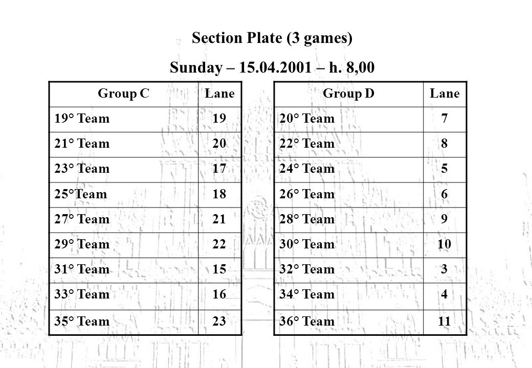 Section Plate (3 games) Sunday – – h.