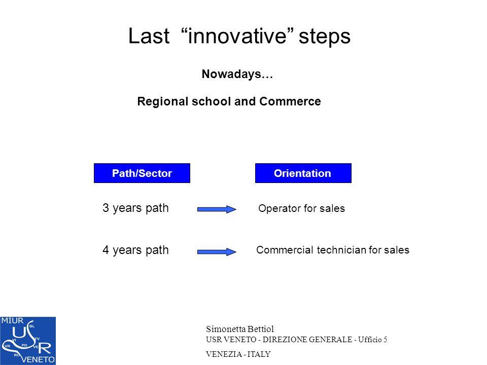 Last innovative steps Simonetta Bettiol USR VENETO - DIREZIONE GENERALE - Ufficio 5 VENEZIA - ITALY Nowadays… Operator for sales Commercial technician