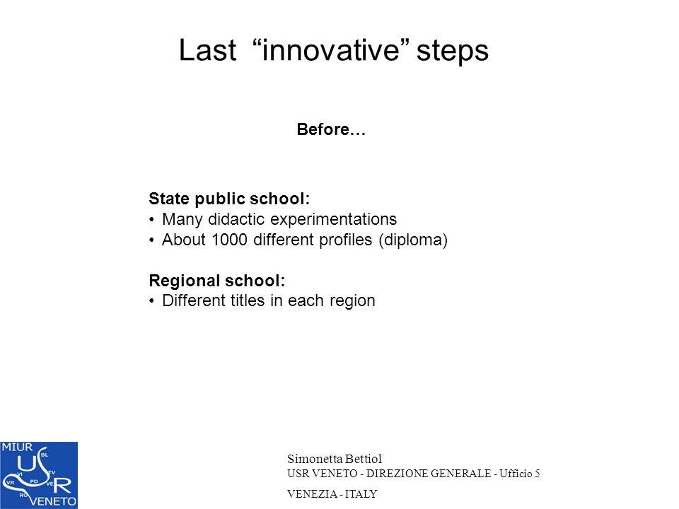 Simonetta Bettiol USR VENETO - DIREZIONE GENERALE - Ufficio 5 VENEZIA - ITALY Before… State public school: Many didactic experimentations About 1000 d