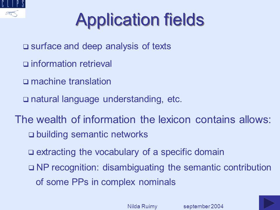 natural language understanding, etc. surface and deep analysis of texts information retrieval machine translation Application fields september 2004 bu