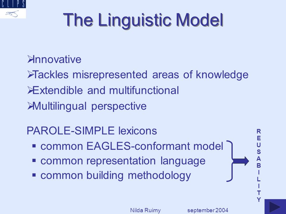 157 language independent semantic types The SIMPLE ontology (2) september 2004 Living_entity Animal Earth_Animal Concrete_entity Entity simple types (one-dimensional) : can be fully characterized in terms of a hypernymic relation, e.g.