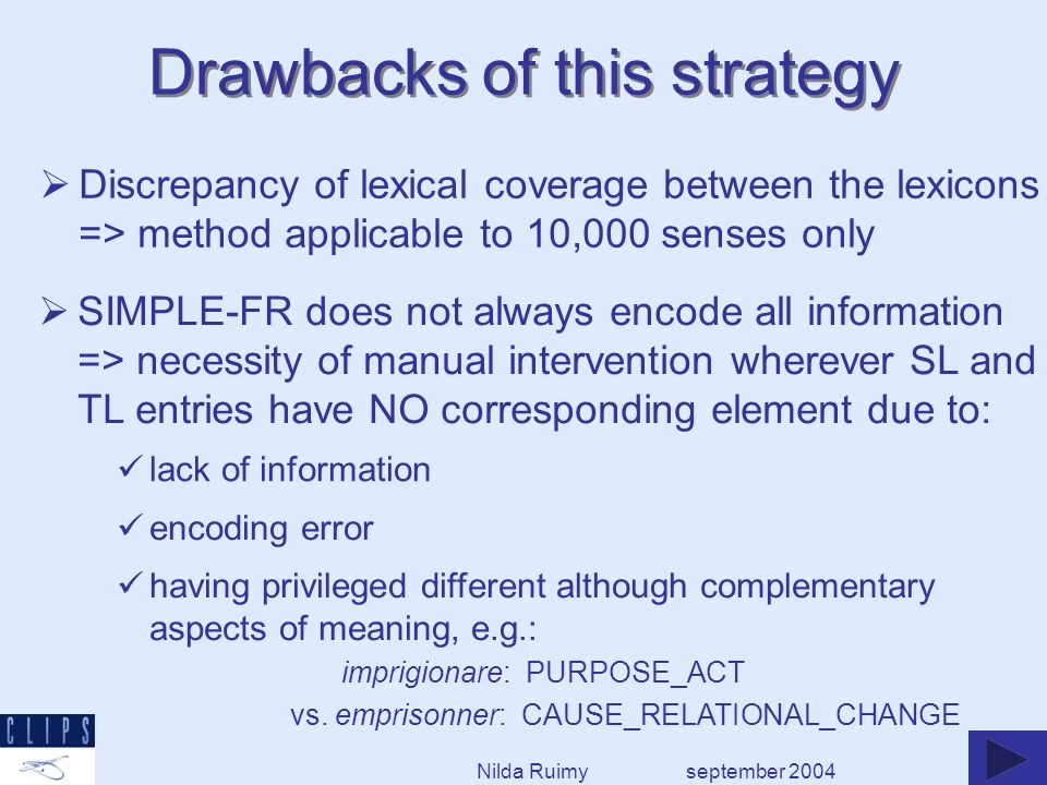 Discrepancy of lexical coverage between the lexicons => method applicable to 10,000 senses only Drawbacks of this strategy september 2004 SIMPLE-FR do