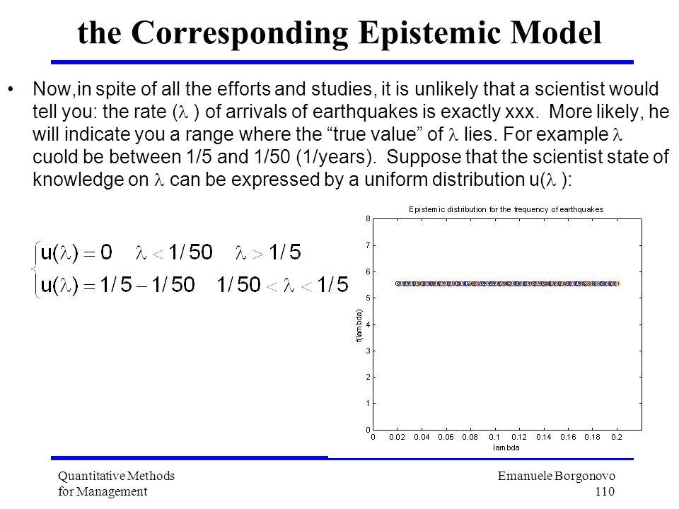 Emanuele Borgonovo 110 Quantitative Methods for Management the Corresponding Epistemic Model Now,in spite of all the efforts and studies, it is unlike