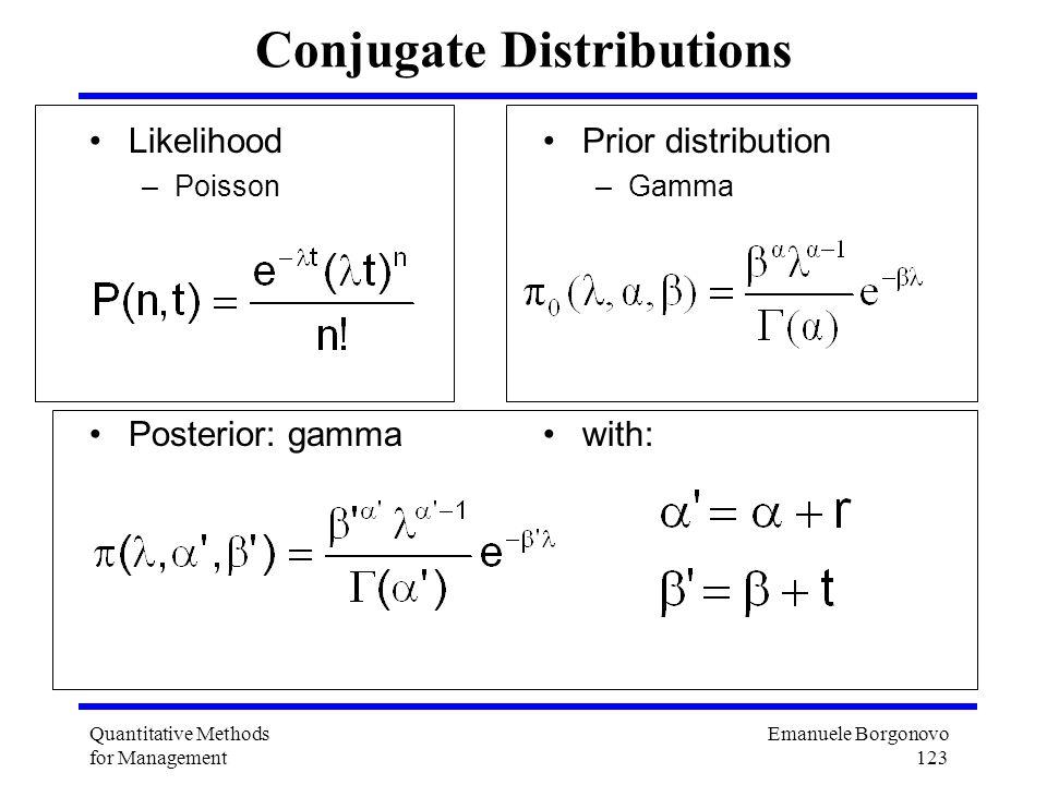 Emanuele Borgonovo 123 Quantitative Methods for Management Conjugate Distributions Likelihood –Poisson Posterior: gamma Prior distribution –Gamma with