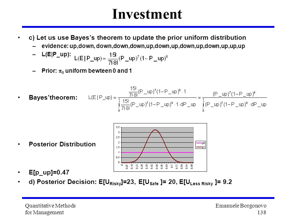 Emanuele Borgonovo 138 Quantitative Methods for Management Investment c) Let us use Bayess theorem to update the prior uniform distribution –evidence: