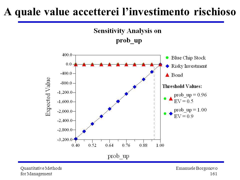 Emanuele Borgonovo 161 Quantitative Methods for Management A quale value accetterei linvestimento rischioso