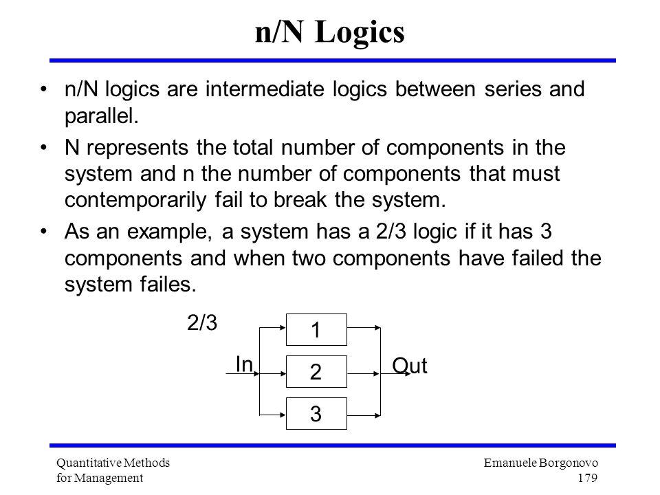 Emanuele Borgonovo 179 Quantitative Methods for Management n/N Logics n/N logics are intermediate logics between series and parallel. N represents the