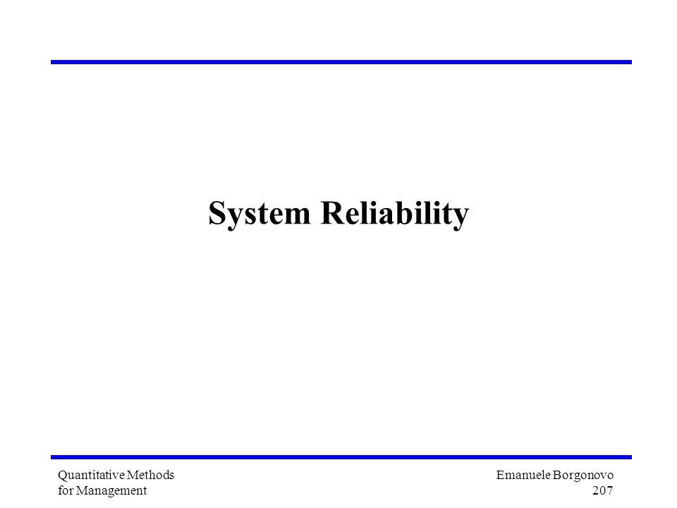 Emanuele Borgonovo 207 Quantitative Methods for Management System Reliability