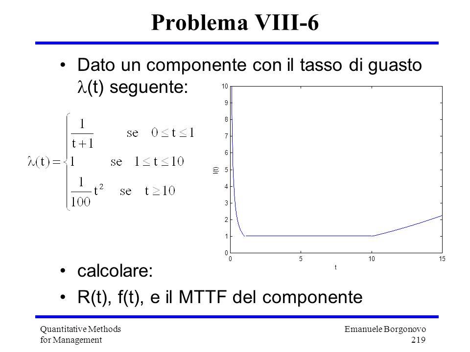 Emanuele Borgonovo 219 Quantitative Methods for Management Problema VIII-6 Dato un componente con il tasso di guasto (t) seguente: calcolare: R(t), f(