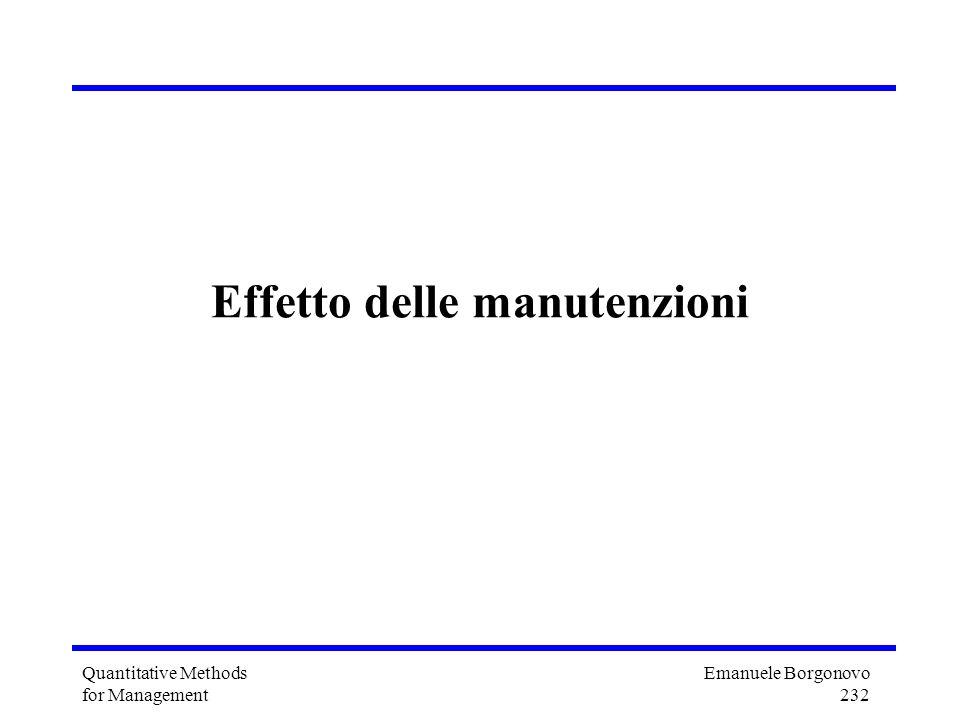 Emanuele Borgonovo 232 Quantitative Methods for Management Effetto delle manutenzioni