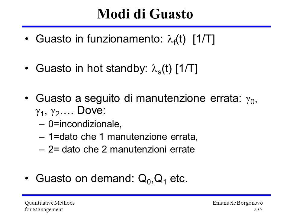 Emanuele Borgonovo 235 Quantitative Methods for Management Modi di Guasto Guasto in funzionamento: f (t) [1/T] Guasto in hot standby: s (t) [1/T] Guas