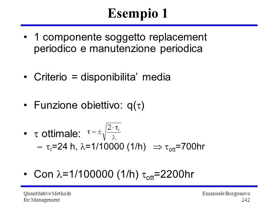 Emanuele Borgonovo 242 Quantitative Methods for Management Esempio 1 1 componente soggetto replacement periodico e manutenzione periodica Criterio = d