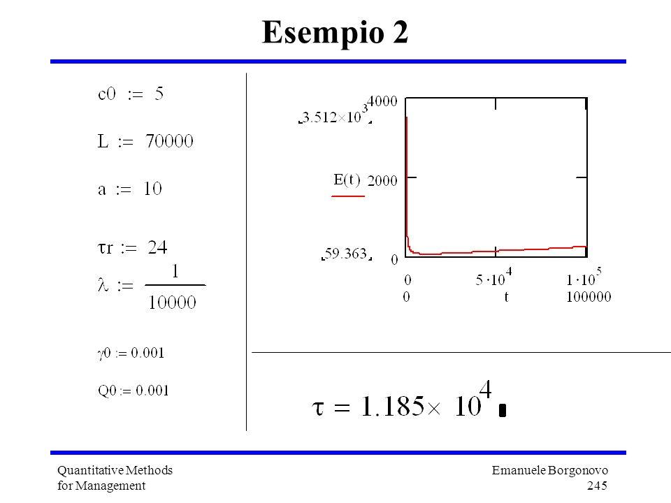 Emanuele Borgonovo 245 Quantitative Methods for Management Esempio 2