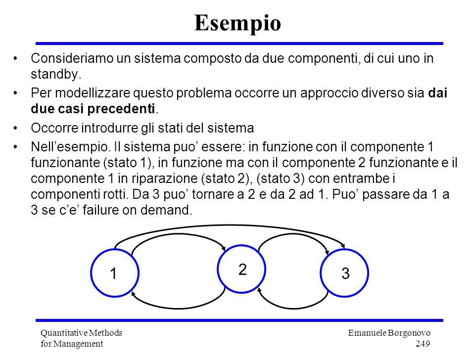 Emanuele Borgonovo 249 Quantitative Methods for Management Esempio Consideriamo un sistema composto da due componenti, di cui uno in standby. Per mode