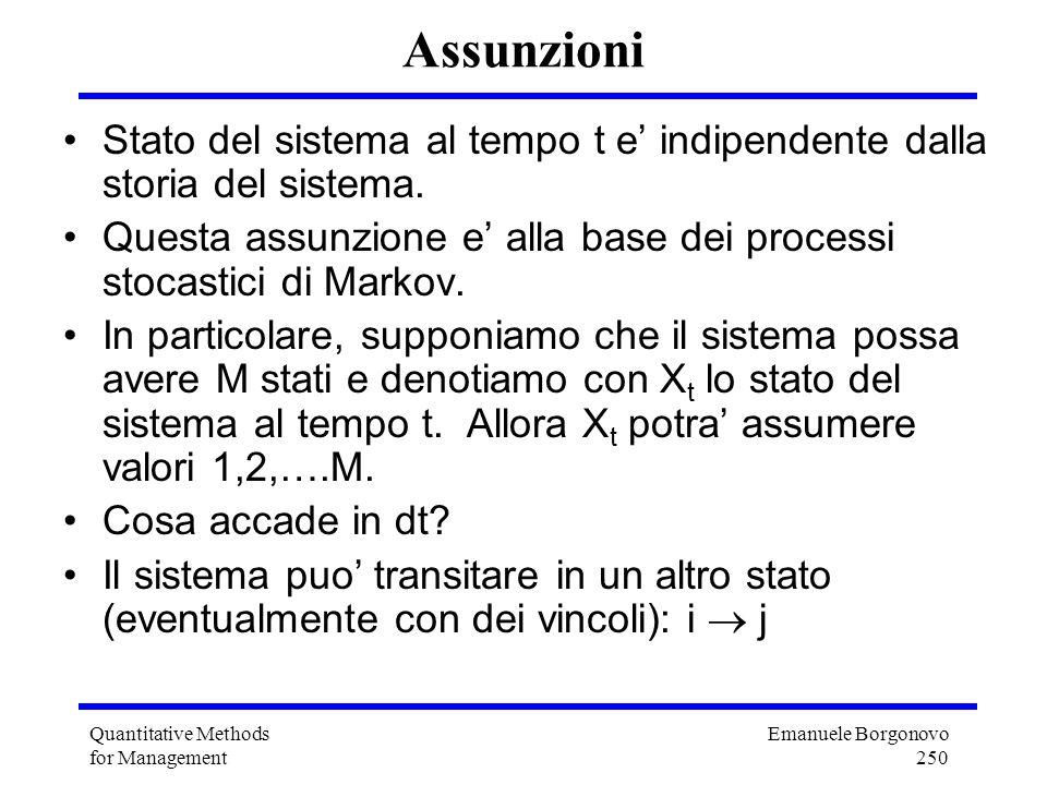 Emanuele Borgonovo 250 Quantitative Methods for Management Assunzioni Stato del sistema al tempo t e indipendente dalla storia del sistema. Questa ass