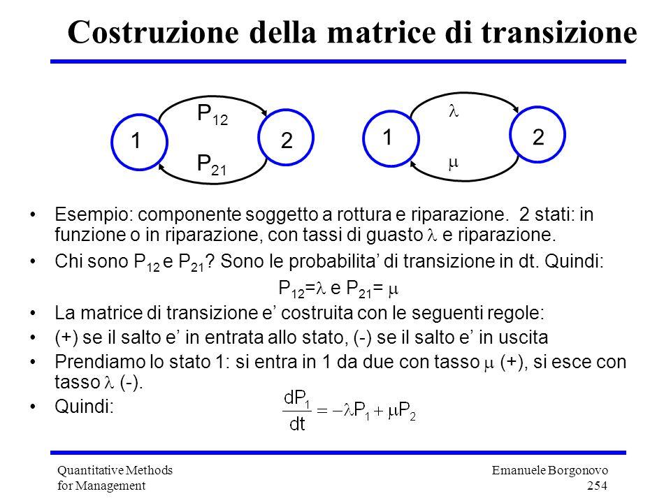 Emanuele Borgonovo 254 Quantitative Methods for Management Costruzione della matrice di transizione Esempio: componente soggetto a rottura e riparazio