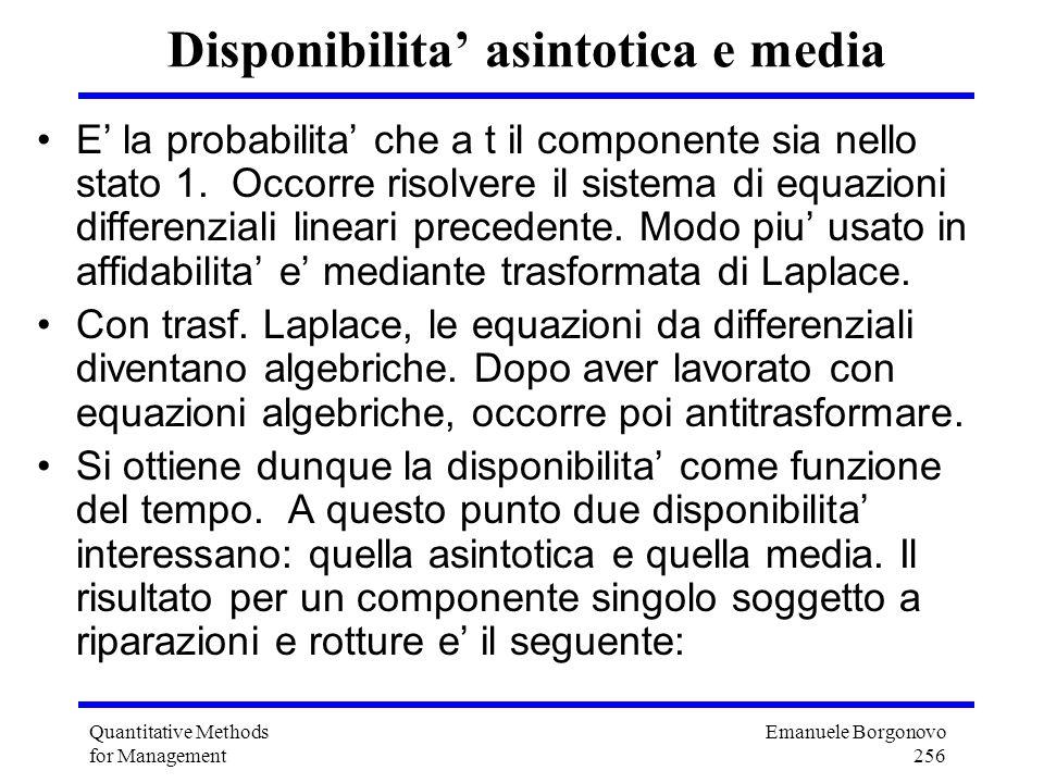 Emanuele Borgonovo 256 Quantitative Methods for Management Disponibilita asintotica e media E la probabilita che a t il componente sia nello stato 1.