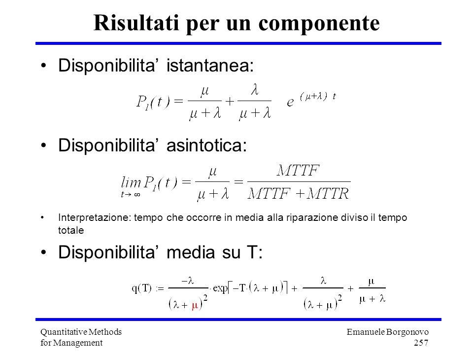 Emanuele Borgonovo 257 Quantitative Methods for Management Risultati per un componente Disponibilita istantanea: Disponibilita asintotica: Interpretaz