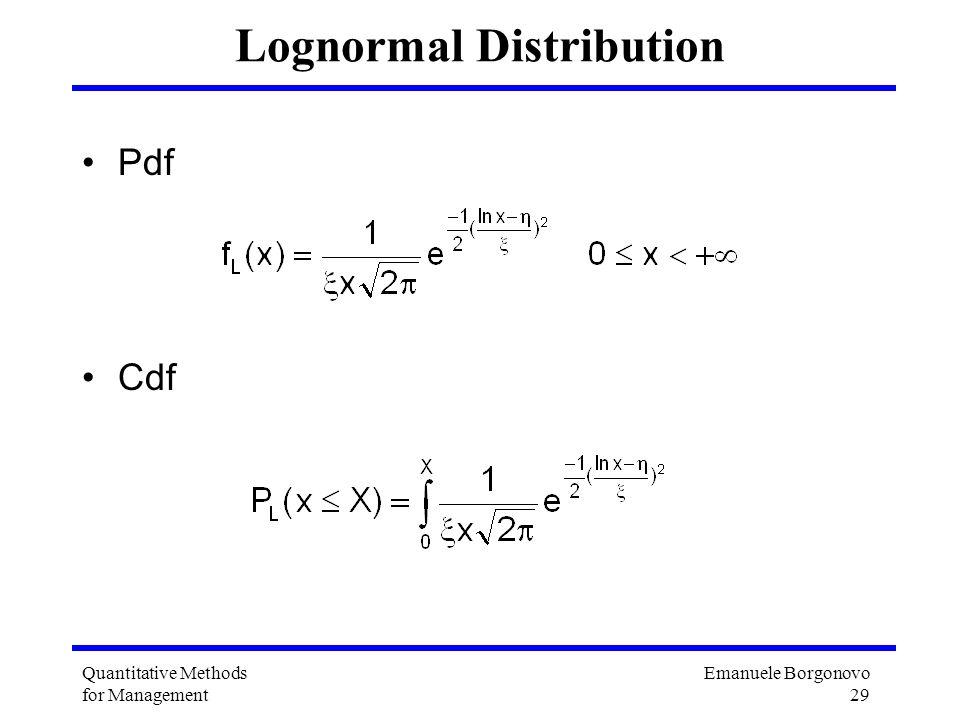 Emanuele Borgonovo 29 Quantitative Methods for Management Lognormal Distribution Pdf Cdf