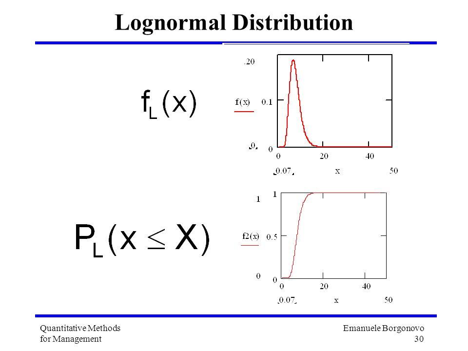 Emanuele Borgonovo 30 Quantitative Methods for Management Lognormal Distribution
