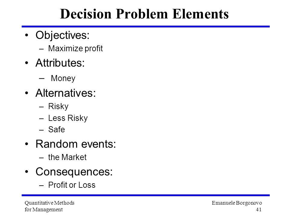 Emanuele Borgonovo 41 Quantitative Methods for Management Decision Problem Elements Objectives: –Maximize profit Attributes: – Money Alternatives: –Ri