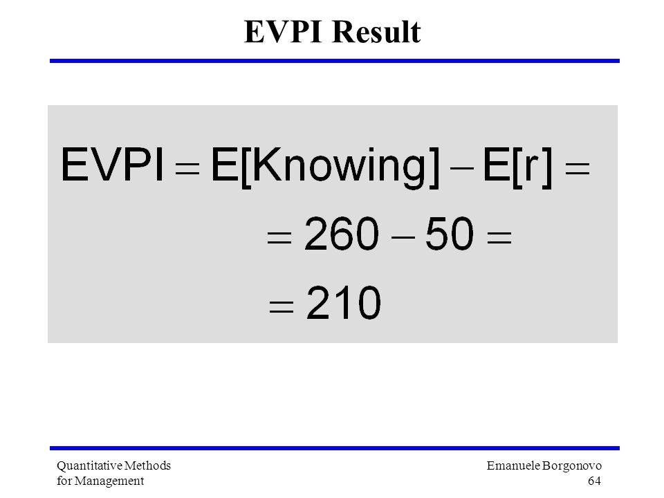 Emanuele Borgonovo 64 Quantitative Methods for Management EVPI Result