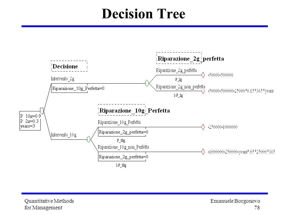 Emanuele Borgonovo 78 Quantitative Methods for Management Decision Tree