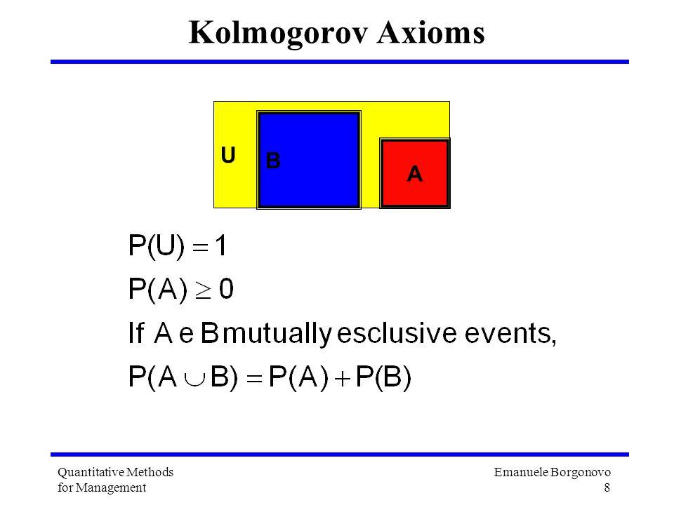Emanuele Borgonovo 8 Quantitative Methods for Management Kolmogorov Axioms U B A