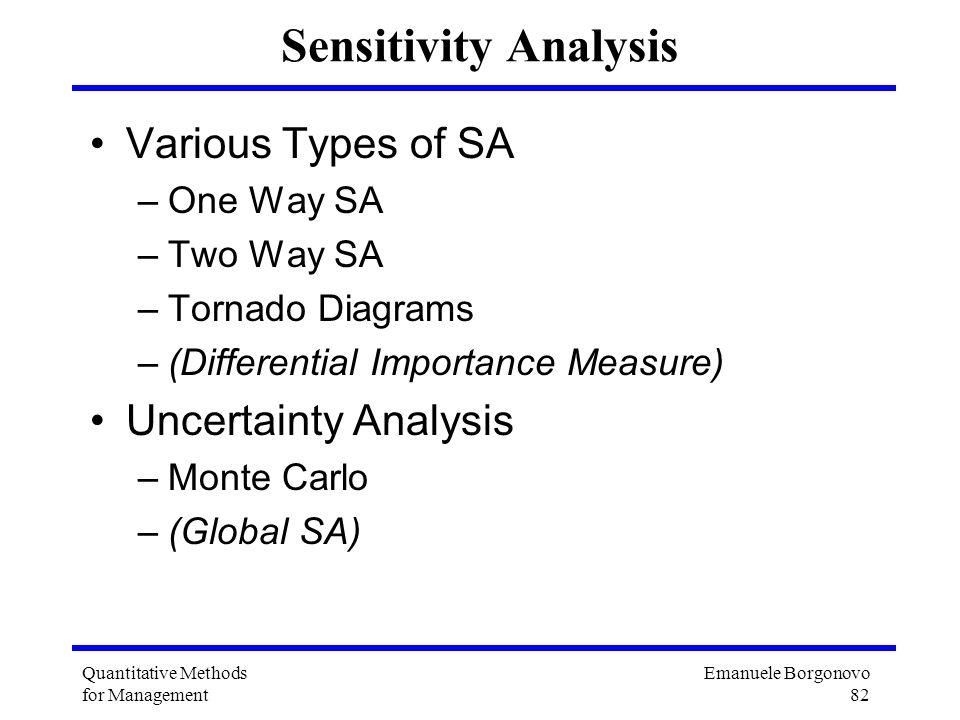 Emanuele Borgonovo 82 Quantitative Methods for Management Sensitivity Analysis Various Types of SA –One Way SA –Two Way SA –Tornado Diagrams –(Differe