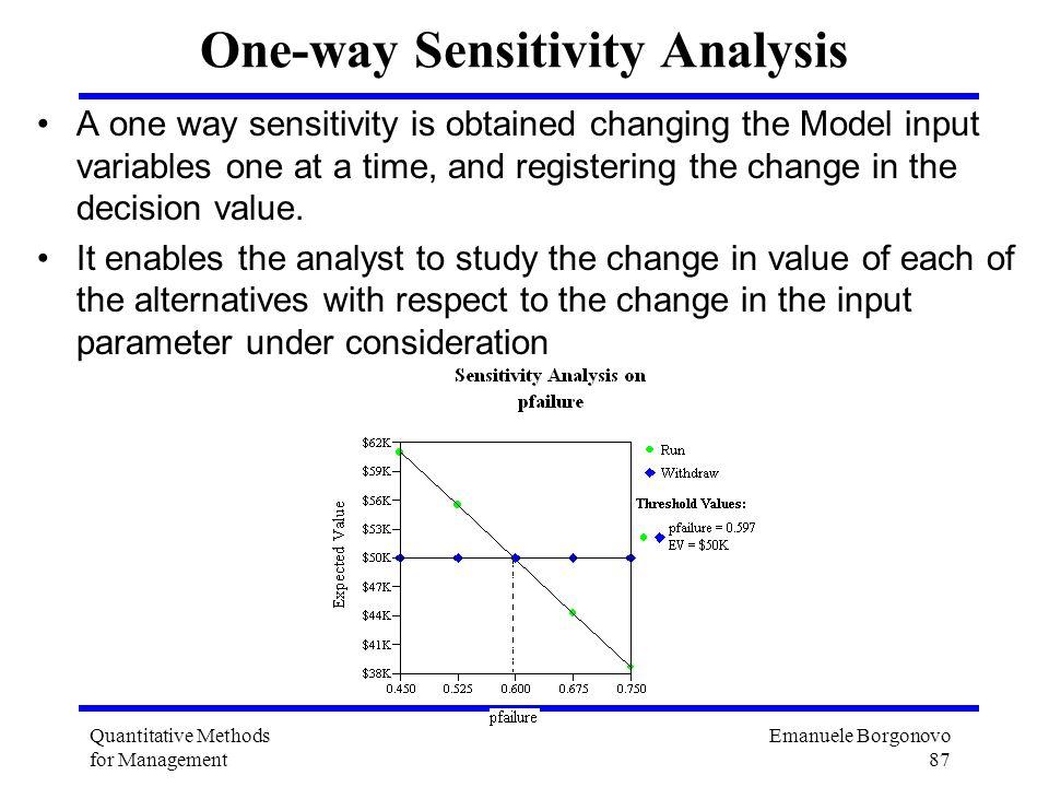 Emanuele Borgonovo 87 Quantitative Methods for Management One-way Sensitivity Analysis A one way sensitivity is obtained changing the Model input vari