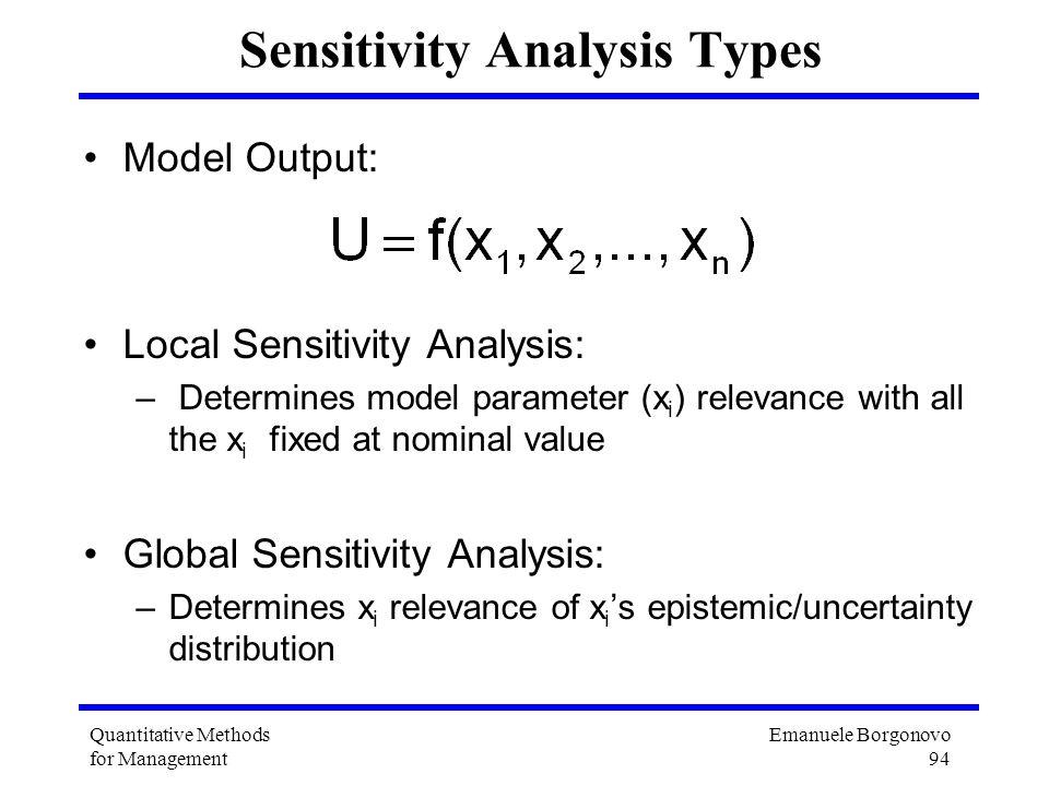Emanuele Borgonovo 94 Quantitative Methods for Management Sensitivity Analysis Types Model Output: Local Sensitivity Analysis: – Determines model para