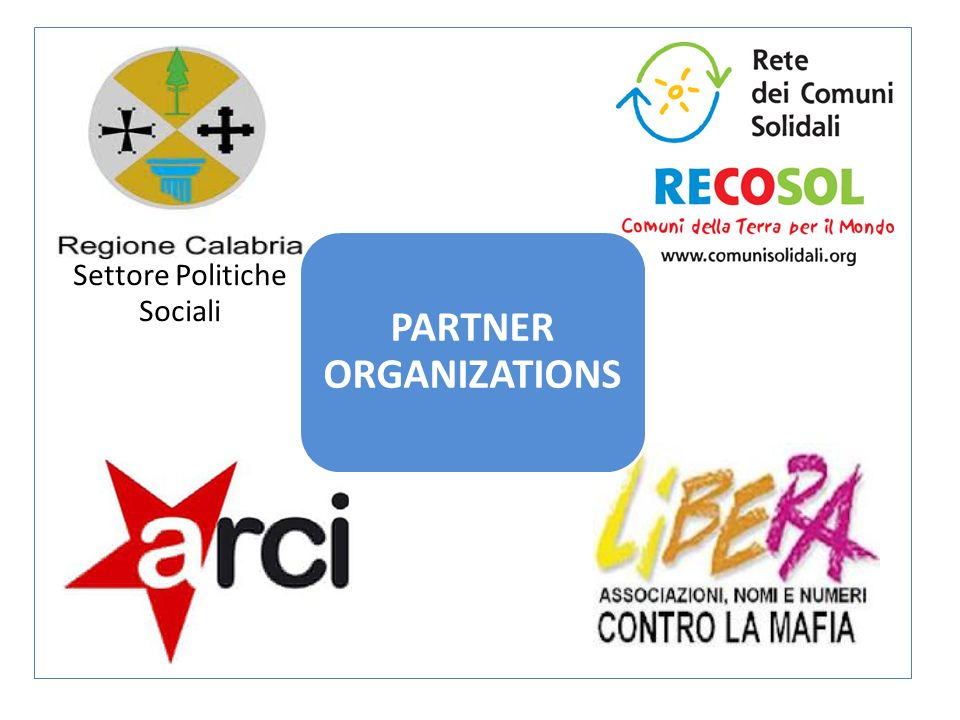 Settore Politiche Sociali PARTNER ORGANIZATIONS