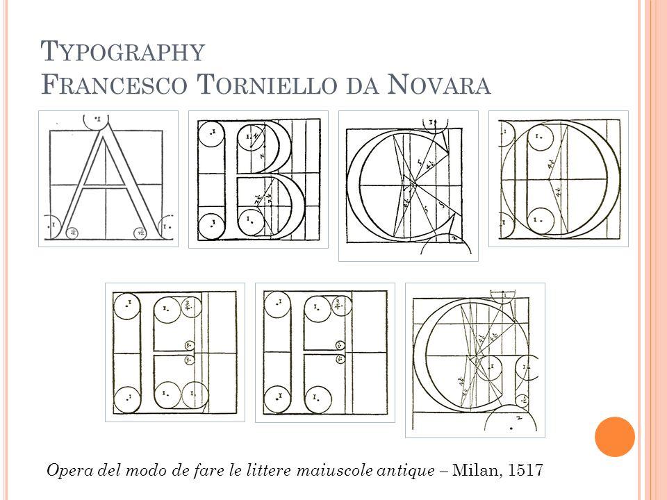 T YPOGRAPHY F RANCESCO T ORNIELLO DA N OVARA Opera del modo de fare le littere maiuscole antique – Milan, 1517
